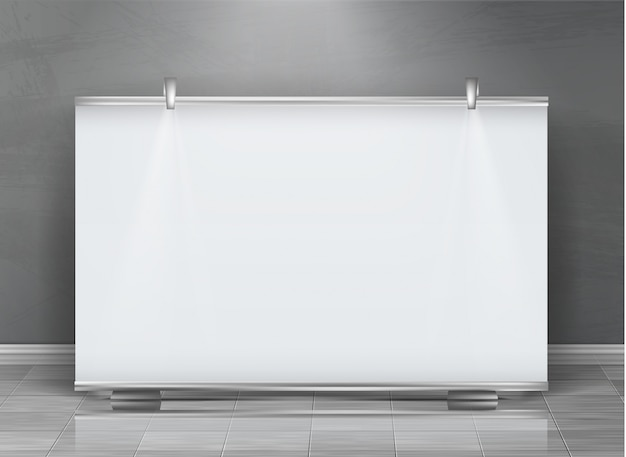 Realistic roll up banner, horizontal stand, blank billboard for exhibition Free Vector