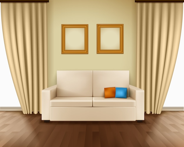 Realistic room interior with luxury window curtain sofa pillows frames Free Vector