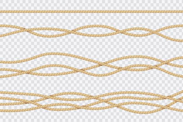 Реалистичный набор веревки. морские текстурированные шнуры. заделывают матросов струны вектор 3d изолированных коллекции Premium векторы