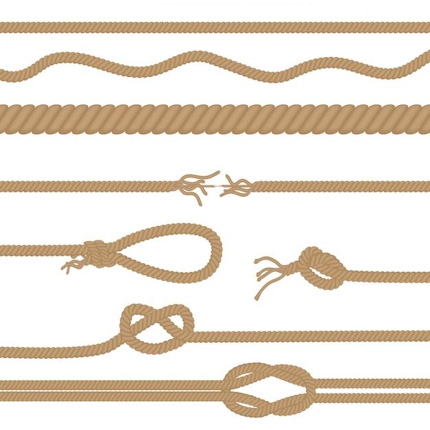 Realistic ropes and knots set Premium Vector