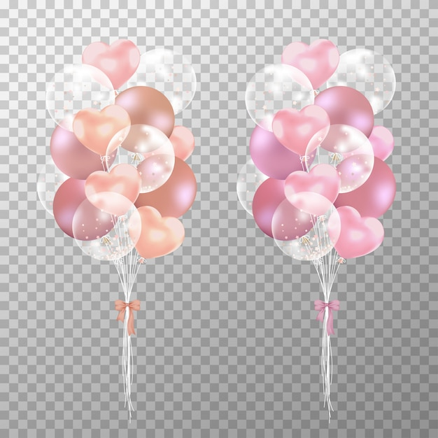 Realistic rose gold and pink balloons Premium Vector
