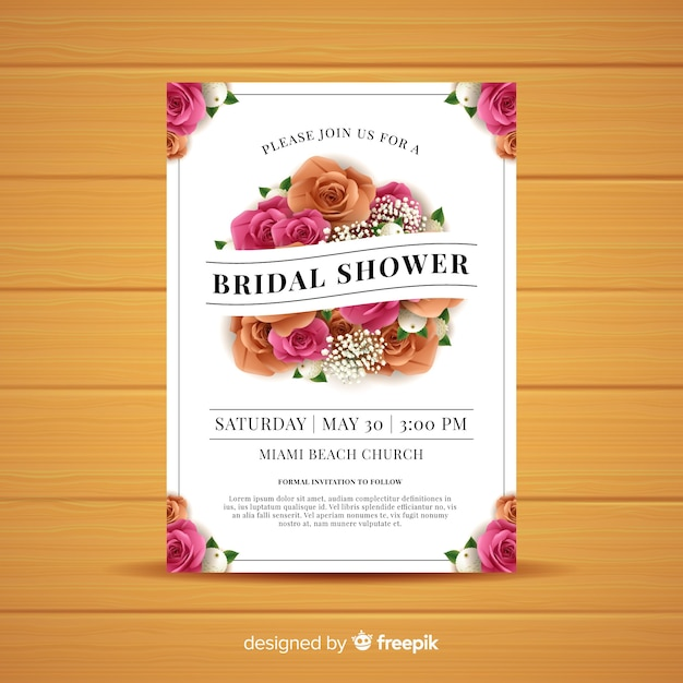 Realistic roses bridal shower card template Free Vector
