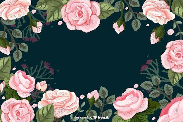 Realistic roses floral embroidery background Free Vector