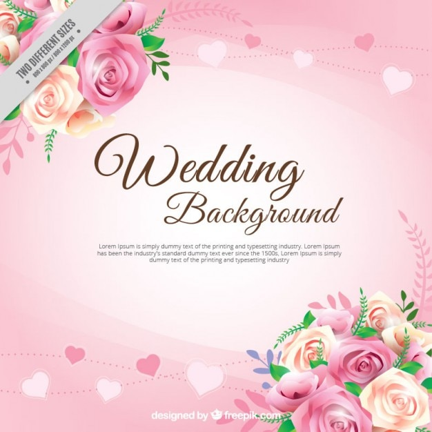 Free Vector Realistic Roses With Leaves Wedding Background