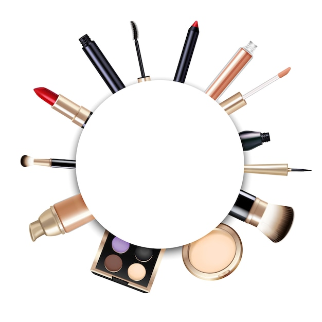 Realistic round makeup frame with lipstick powder foundation brushes gloss liner eyeshadows and mascara Free Vector