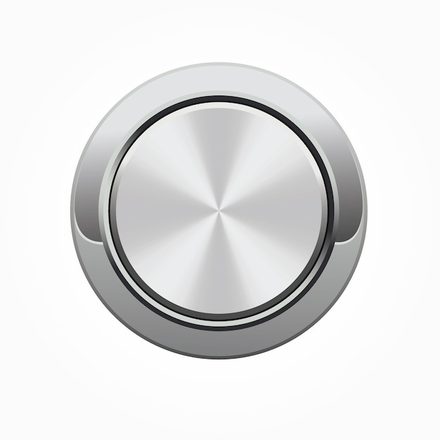 Realistic round silver button with silver frame Premium Vector