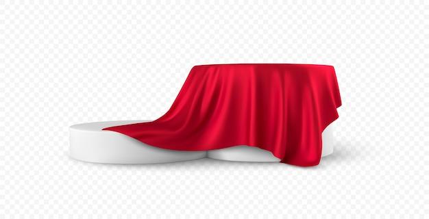 リアルな丸い白い製品の表彰台のディスプレイは、白い背景で隔離の赤い布のカーテンのひだをカバーしました。 Premiumベクター