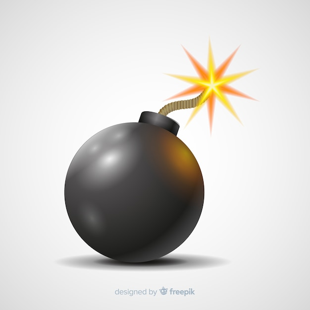 Free Vector | Realistic rounded bomb with fuse