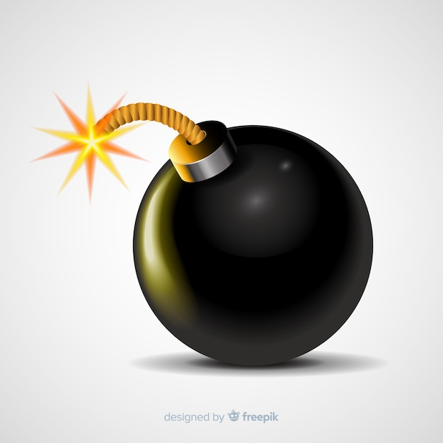 Realistic rounded bomb with fuse Free Vector
