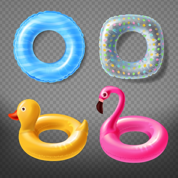 Realistic rubber rings - yellow duck, childish pink flamingo or blue lifebuoy. Free Vector