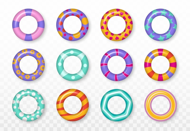 Realistic rubber swimming 3d rings isolated on transparent background. colorful swim rings set. summer vacation or trip safety. summer, water and beach theme, safe icons. illustration. Premium Vector