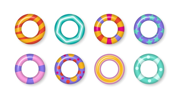 Realistic rubber swimming 3d rings isolated on transparent background. colorful swim rings set. summer, water and beach theme, safe icons. summer vacation or trip safety. illustration. Premium Vector