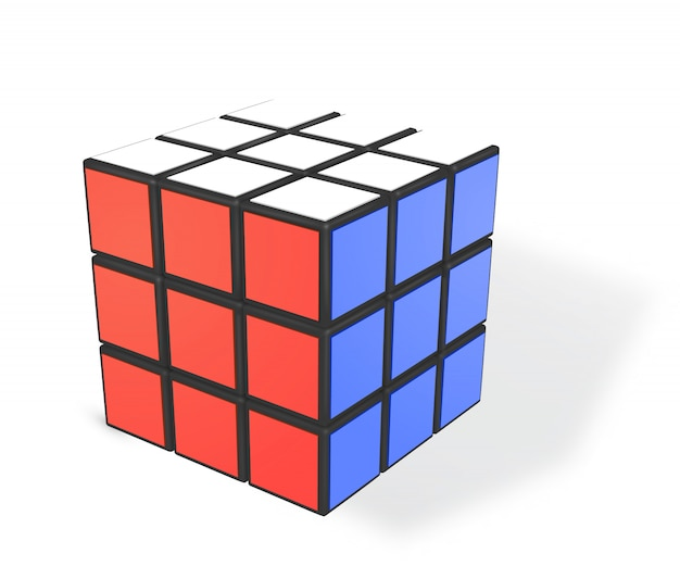 Realistic rubiks cube Premium Vector