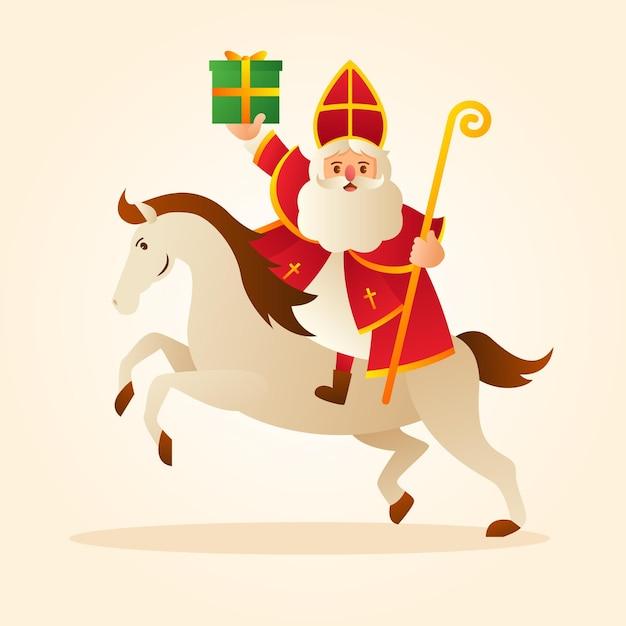 リアルな聖ニコラスの日のイラスト Premiumベクター
