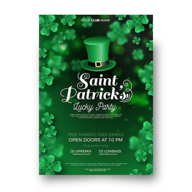 Realistic saint patrick's day flyer template Free Vector