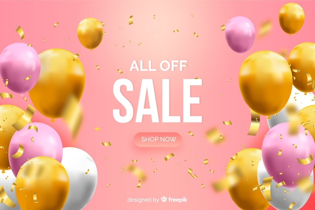 Realistic sale background with balloons Free Vector