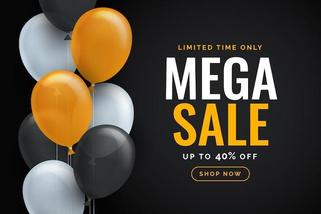 Реалистичные продажи фон с воздушными шарами Бесплатные векторы