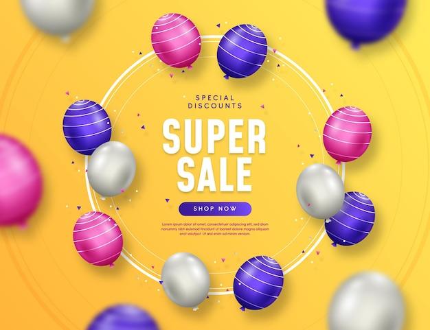 Sfondo di vendita realistico con palloncini Vettore gratuito