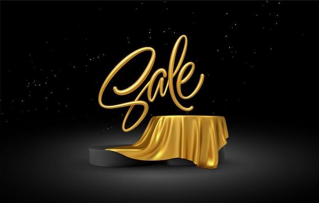 제품 연단 디스플레이와 현실적인 판매 골드 글자는 검은 색 바탕에 황금 직물 휘장 주름을 덮었습니다. 프리미엄 벡터