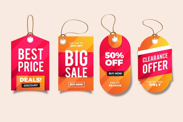 Realistic sale tag collection Free Vector