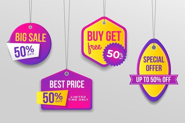 Set di tag di vendita realistici Vettore gratuito
