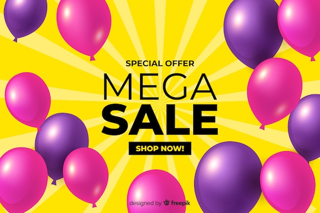 Realistic sales background with balloons Free Vector