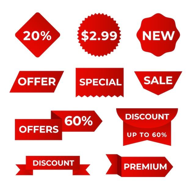 현실적인 판매 라벨 컬렉션 디자인 무료 벡터