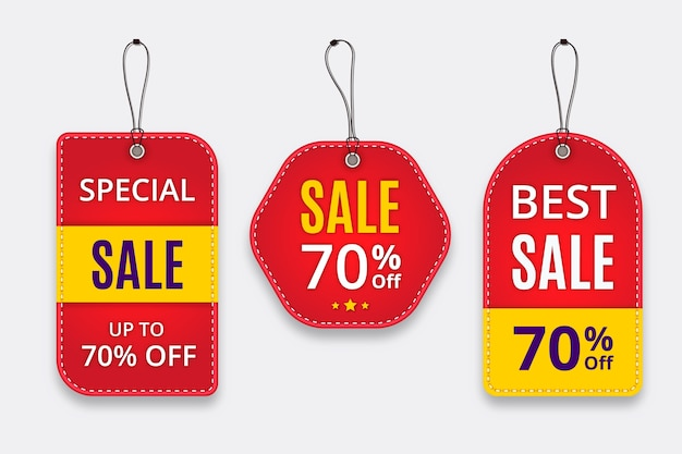 Realistic sales label collection with hangers Free Vector