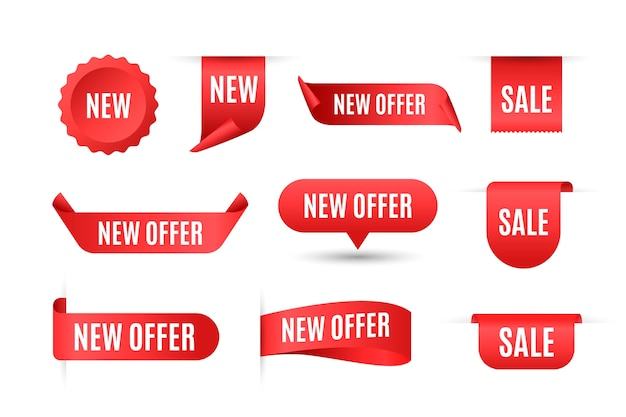 Realistic sales label collection Free Vector