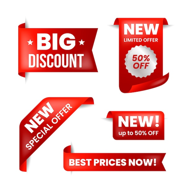 빨간색과 흰색 컬렉션의 현실적인 판매 레이블 프리미엄 벡터