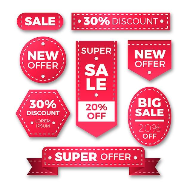 Realistic sales label set Free Vector