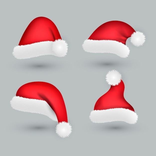 Realistic santa claus hat collection Free Vector