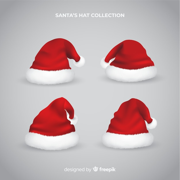 Realistic santa hat collection Free Vector