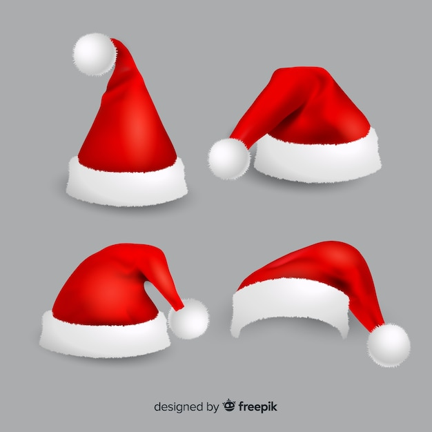 Realistic santa's hat collection Free Vector