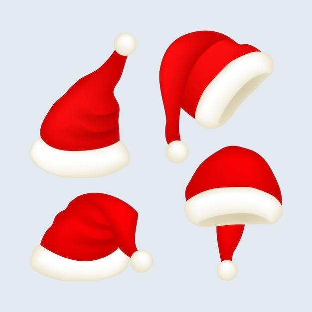 Realistic santa's hat set Free Vector