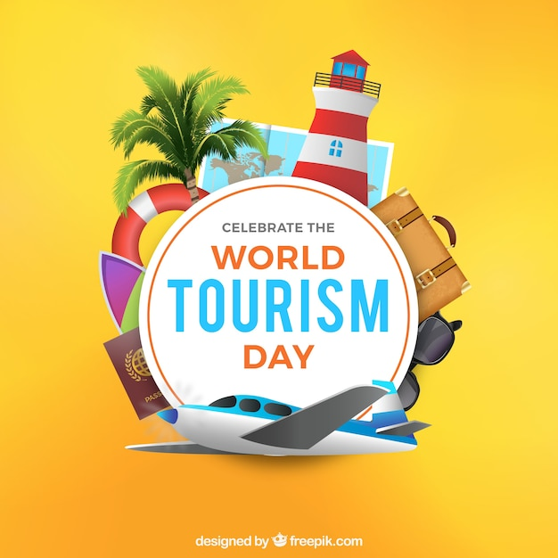 Realistic scene for world tourism day Free Vector