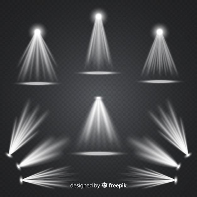 Realistic scene illumination collection Free Vector