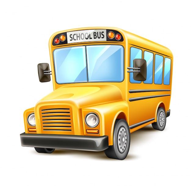 Реалистичный школьный автобус желтый сша Premium векторы
