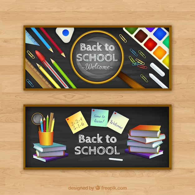 Realistic school elements banners