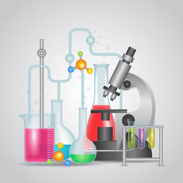 Realistic science lab design Free Vector