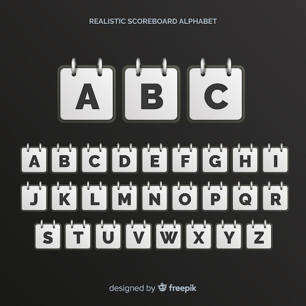 Realistic scoreboard alphabet Free Vector