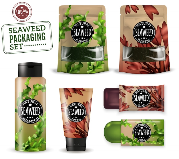 Realistic sea weed cosmetic packaging Free Vector