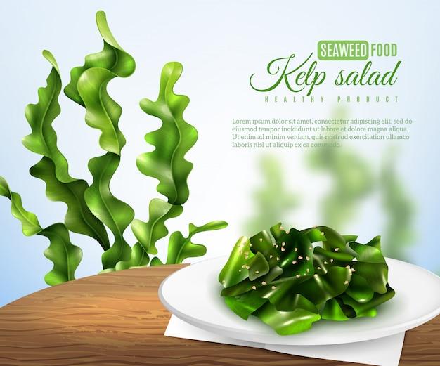 Insegna realistica dell'insalata dell'erbaccia di mare Vettore gratuito
