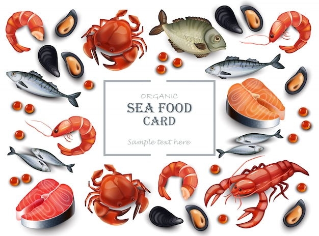 Realistic seafood crab and mussels pattern background Premium Vector