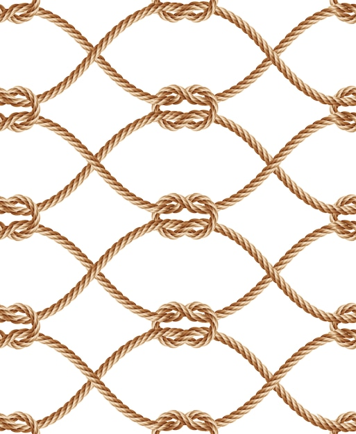 Realistic seamless pattern with brown twisted ropes and loops. Free Vector
