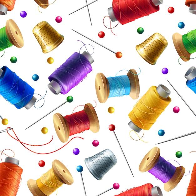 Реалистичная бесшовные модели с швейными инструментами. декоративный фон с материалами Бесплатные векторы