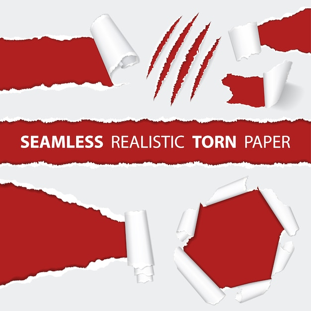 Realistic seamless torn paper and scratch claws Premium Vector