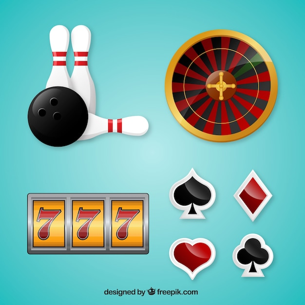 Realistic selection of casino elements Free Vector