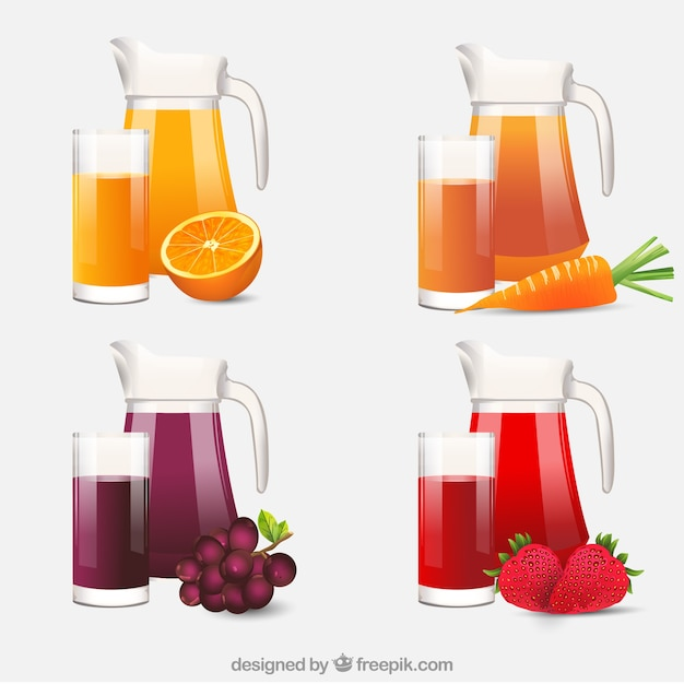 Realistic selection of jars and glasses with fruit juices Free Vector
