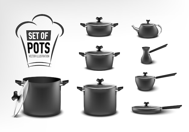 Realistic set of black kitchen appliances, pots of different sizes, coffee maker, turk, stewpan, frying pan, kettle Premium Vector